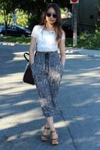 white lace garage top - Zara purse - Topshop sunglasses - Topshop necklace
