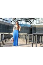 blue Bloch flats - Zara purse - black Topshop sunglasses - Forever 21 top