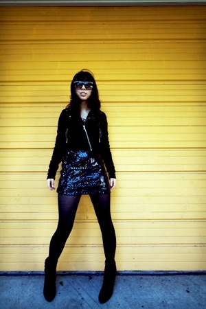 Urban Outfitters sunglasses - H&M jacket - thrift dress - payless boots