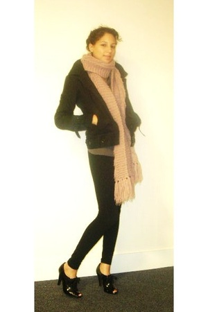 oxmo coat - H&amp;M scarf - American Apparel tights - covet blouse - Mossimo shoes