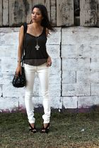 black unknown top - brown James Perse top - beige le grand marquet jeans - black