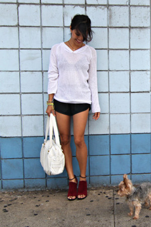urba shorts - LA Made sweater - See by Chloe bag - suede heels bal heels