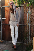 silver Helmut Lang top - white BDG- urban outfitters jeans - black unkown shoes
