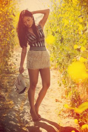 thrifted skirt - Ebay wedges - H&M bodysuit