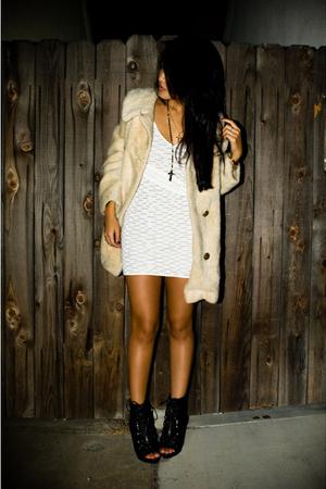 beige coat - black shoes - white dress