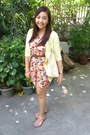 Flowery-cotton-dress-brown-leather-from-us-belt-light-yellow-cardigan