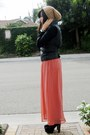 Camel-h-m-hat-black-forever-21-jacket-salmon-sheer-maxi-forever-21-skirt