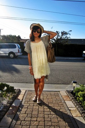 ivory lace Target dress - straw fedora Urban Outfitters hat - structured H&M bag