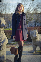 navy Zara coat - brick red H&M dress - black Calzedonia tights