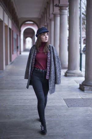 navy zaful hat - black H&M boots - gray River Island coat - black Zara jeans