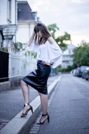 white sammydress blouse - dark green Promod heels - black Prada glasses