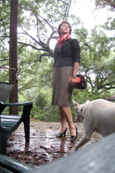 BCBG scarf - BCBG blazer - skirt - purse