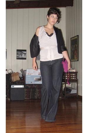 BCBG top - BCBG blazer - BCBG jeans - purse