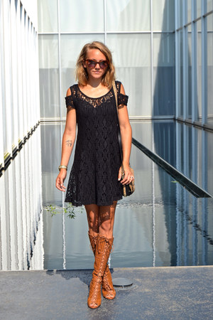 leather Schutz boots - lace free people dress - Prada sunglasses