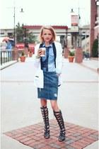 denim madewell shirt - One Teaspoon blazer - leather Schutz sandals