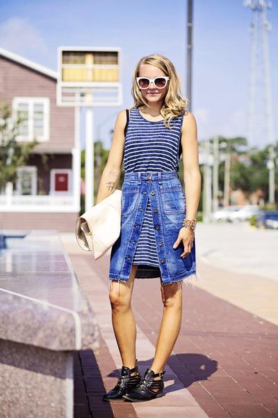 denim rag & bone skirt - StyleMint dress - leather 31 Phillip Lim bag