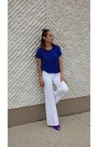 blue cotton H&M top - hot pink nylon We Love Colors socks