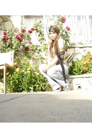black Aldo scarf - black Forever 21 sandals - camel Forever 21 blouse