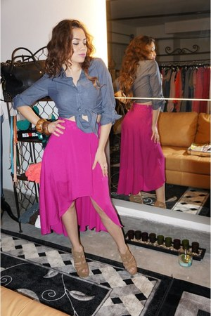 tan Chinese Laundry heels - hot pink skirt - navy top