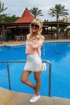 white lace H&M dress - white Paco Martinez bag - peach cropped H&M sweatshirt
