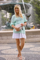 white mini dress Terranova dress - aquamarine knitted c&a sweater