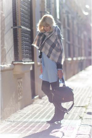 periwinkle tartan Primark scarf - black Marypaz boots - sky blue Primark dress