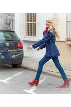 navy Sheinside coat - ruby red ankle boots Tex boots