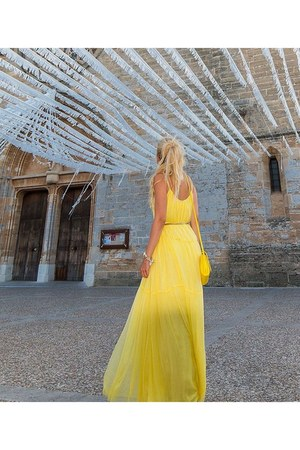 yellow Primark bag - light yellow maxi dress Mango dress