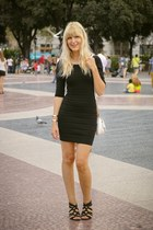black mini dress Mango dress - white Paco Martinez bag - gold H&M bracelet