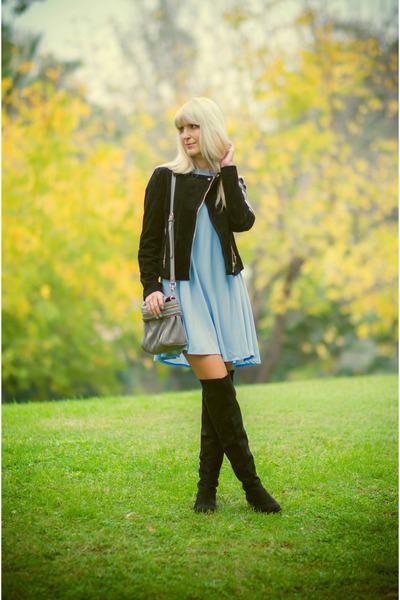 Black-zara-boots-sky-blue-primark-dress-black-suede-stradivarius-jacket
