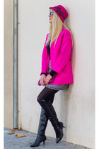 hot pink neon Choies coat - black Marypaz boots - magenta wool N&S hat