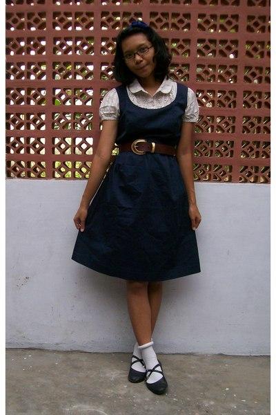 Blue Dresses Brown Belts White Socks Black Shoes Blue