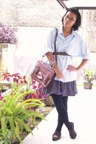 blue shirt - skirt - black leggings - brown belt - brown purse - brown shoes