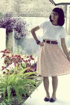 white t-shirt - skirt - brown belt - black shoes