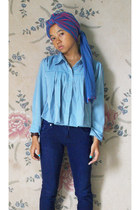 blue unbranded scarf - navy go girl jeans - sky blue unbranded shirt