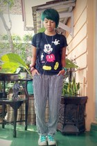 black mickey t-shirt - white Converse shoes - black stripes pants