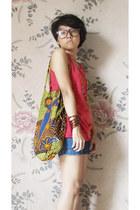 chartreuse flea market bag - navy moms shorts - red unbranded top
