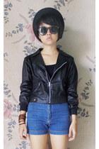 black unbranded hat - black unbranded jacket - navy unbranded shorts