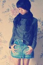 black unbranded scarf - light blue Marmalade skirt - green unbranded top