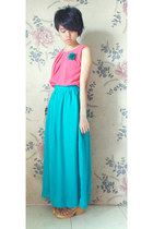bubble gum twiscone unbranded top - turquoise blue chiffon unbranded skirt