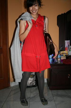 Zara dress - BAPE jacket - giordano tights