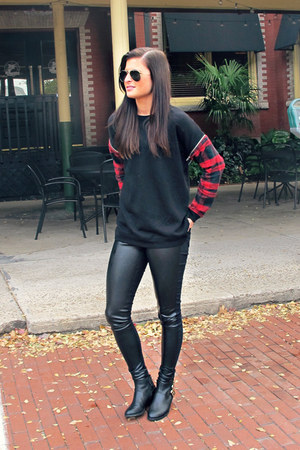 leather H&M leggings - ankle boots Aldo boots - tartan Forever 21 shirt