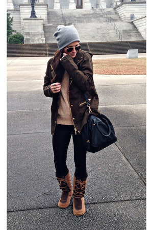 parka Forever 21 jacket - lace up boots Ugg boots - beanie Urban Outfitters hat