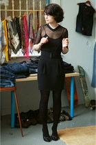 black thrifted shirt - black Club Monaco skirt - black Aldo heels