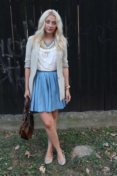 Boohoocom skirt - Zara blazer - New Yorker top - Newlook flats