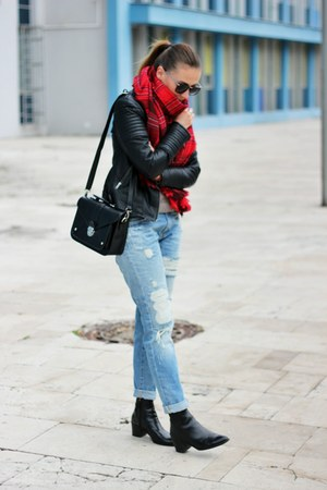 Zara boots - reserved jacket - H&M scarf