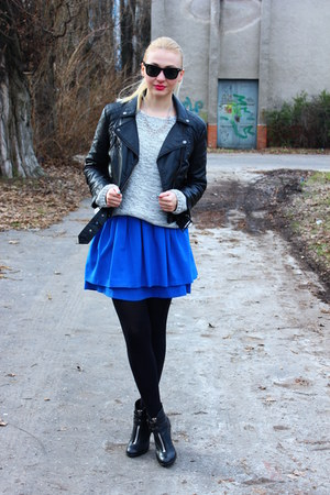 H&amp;M skirt - Topshop boots - leather H&amp;M jacket - vintage sweater