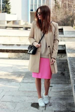 F&F coat - sneakers asos shoes - vintage sweater - Zara bag - Ebay skirt