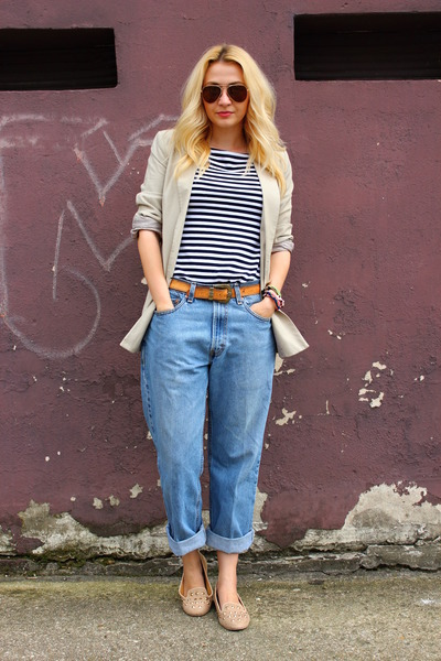 Levis jeans - loafers asos shoes - Zara blazer - vintage belt - no brand top