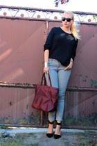 vintage sweater - Mango bag - H&M pants - Oasapcom bracelet - choiescom heels